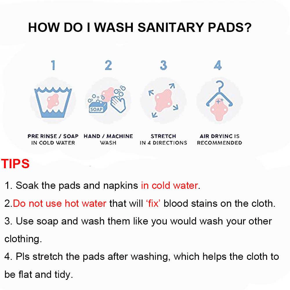 Almohadillas menstruales de algodón de bambú reutilizables de 5 uds. Almohadillas de período de tela lavable orgánica 100% con bolsa de almacenamiento de 7 pulgadas