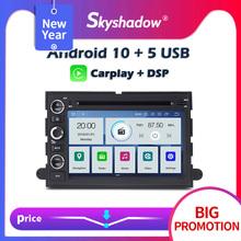 Carplay DSP IPS PX6 Android 10 4G + 64G samochodowy odtwarzacz DVD odtwarzacz GPS mapa WIFI Radio Bluetooth dla Ford Fusion Explorer F150 Edge Expedition tanie tanio SKYSHADOW CN (pochodzenie) podwójne złącze DIN 4*45W System operacyjny Android 10 0 DVD-R RW DVD-RAM VIDEO CD JPEG Plastic Steel