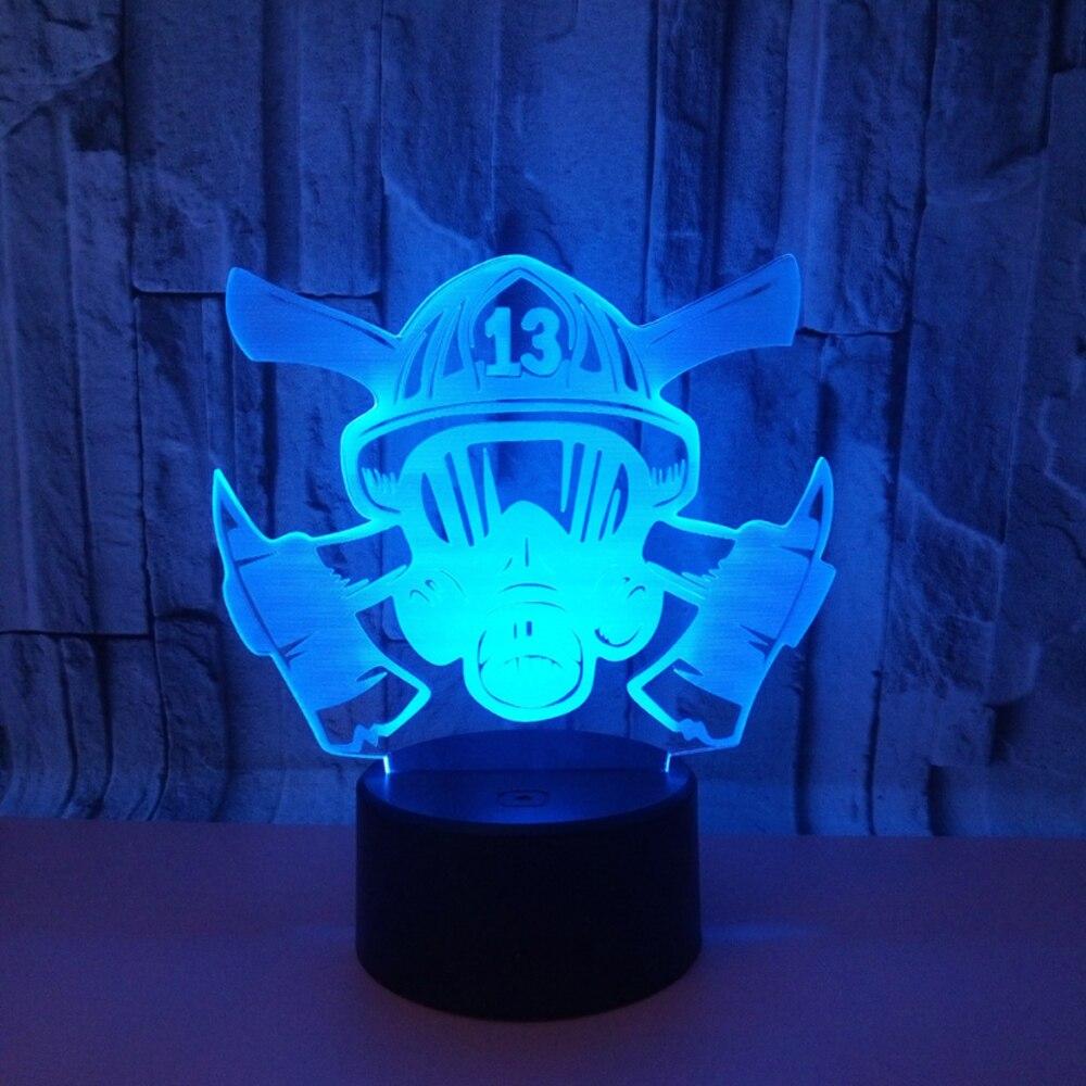 Ogień maska 3d wizualne Illusion LED Lampc akrylowe światło nocne Led Lampa 7 zmiana koloru stół dotykowy Bulbing Lampa pokój ogień narzędzia