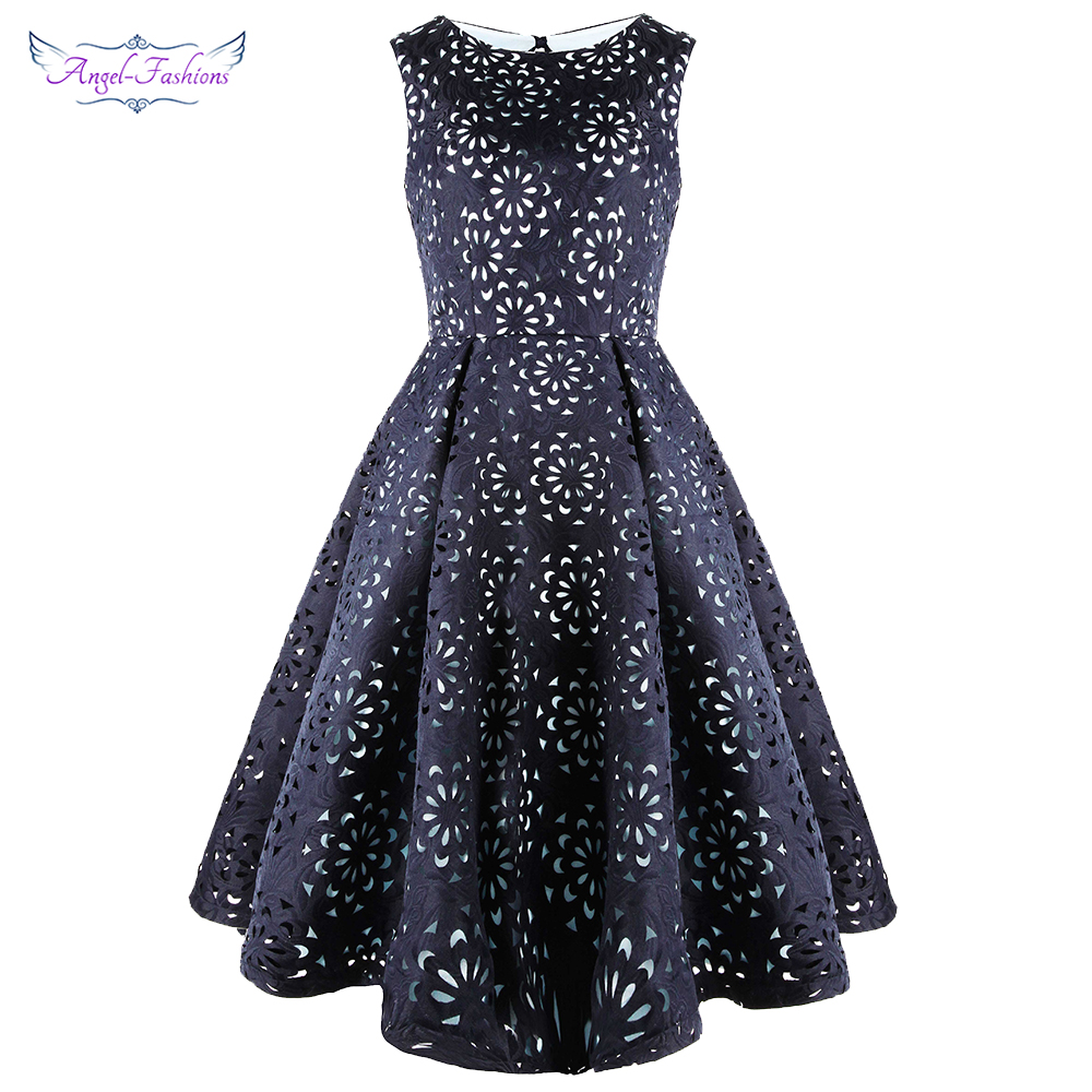 Angel-fashions Women's Party Gown Round Neck Floral A-Line Cut Out Short Elegant Cocktail Dresses Blue 489