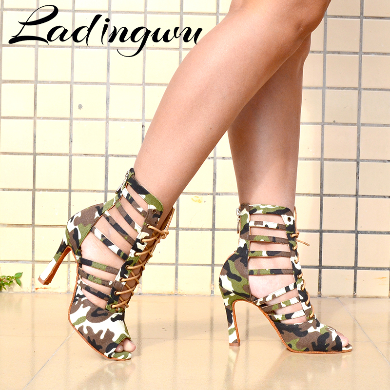 Ladingwu Salsa Dance Shoes Women Latin Soft Bottom Dance Boots Ballroom Dance Shoes Camouflage Texture Denim Latin Dance Shoes