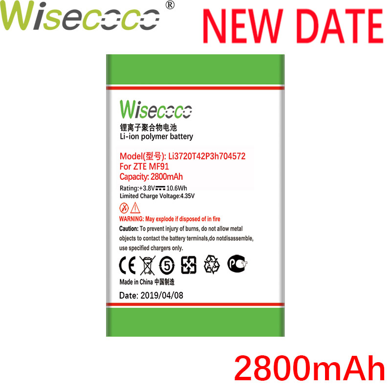 Wisecoco Li3720T42P3h704572 2800mAh New <font><b>Battery</b></font> For <font><b>ZTE</b></font> MF91 <font><b>MF90</b></font> 4G WIFI Router Modem High Quality <font><b>battery</b></font> image