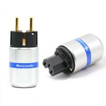 זוג Monosaudio hi end טהור נחושת האיחוד האירופי סוג כוח מחבר Schuko הכנס חשמל עבור Hifi DIY כוח כבל