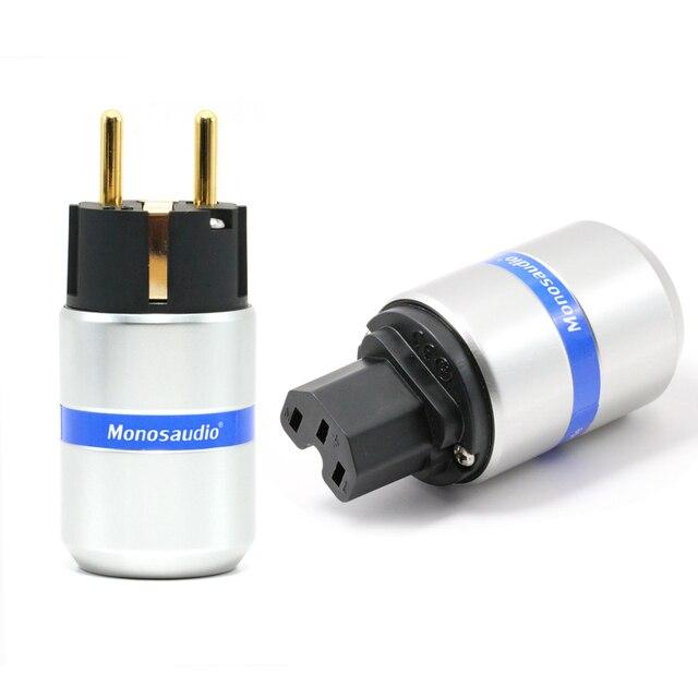 Paar Monosaudio Hi End Zuiver Koper Eu Type Power Connector Schuko Plug Voor Hifi Diy Stroomkabel