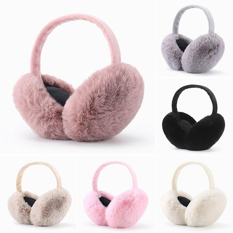 Faux Fur Solid Color Earmuffs Winter Ear Warmer Foldable Fluffy Plush Ear Muffs