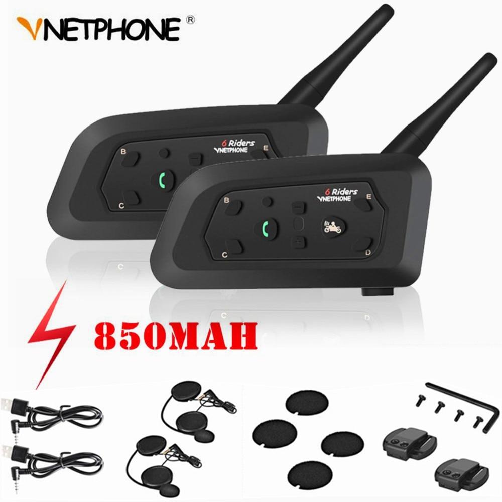2PCS V6 Motorcycle Intercom Bluetooth Helmet Headsets For 6 Riders Team Intercommunicador Moto Interphone 1200M Hi-Fi MP3 GPS