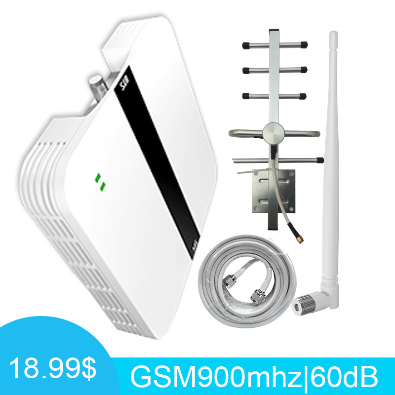 60dB GSM Signal Booster 900 MHz Mobile Cellular Signal Booste Repeater GSM 2g 900 Cell Phone Signal Amplifier Yagi Full Set -