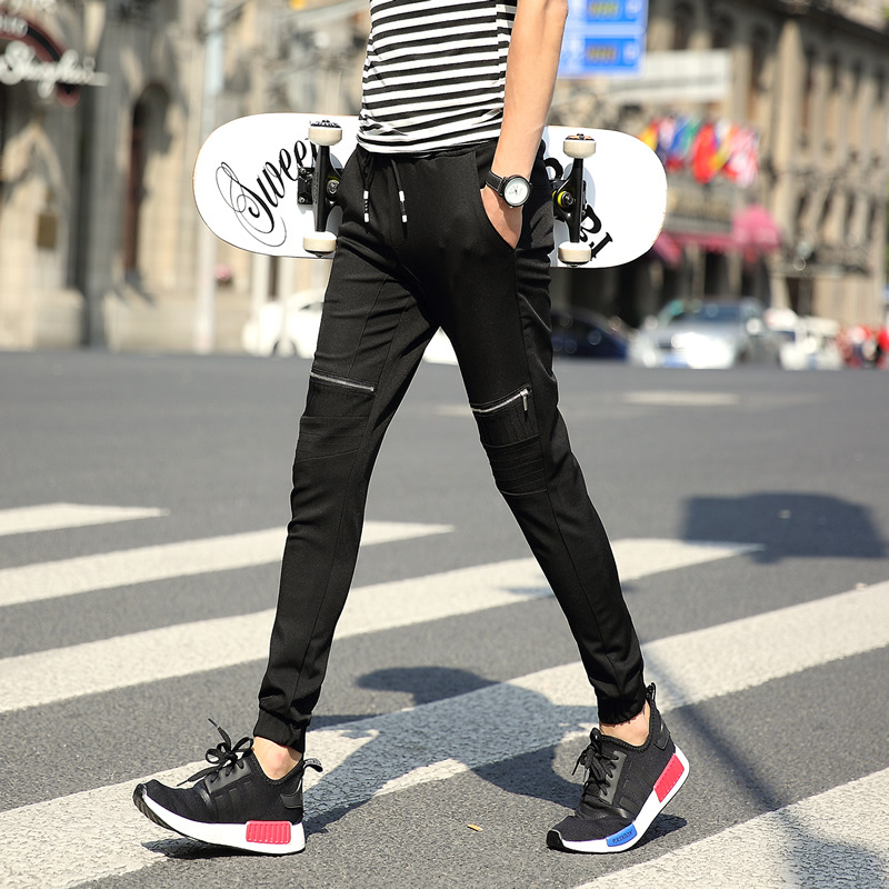 2019 Autumn Clothing New Style Men Korean-style Slim Fit Ankle Banded Pants Youth Fashion Zipper Decorations Students Drawstring