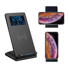 Fast Wireless Charger LCD Digitizer Wireless Charger Alarm Clock 10W Charger Holder With Temperature For Bedroom Living Room(China)