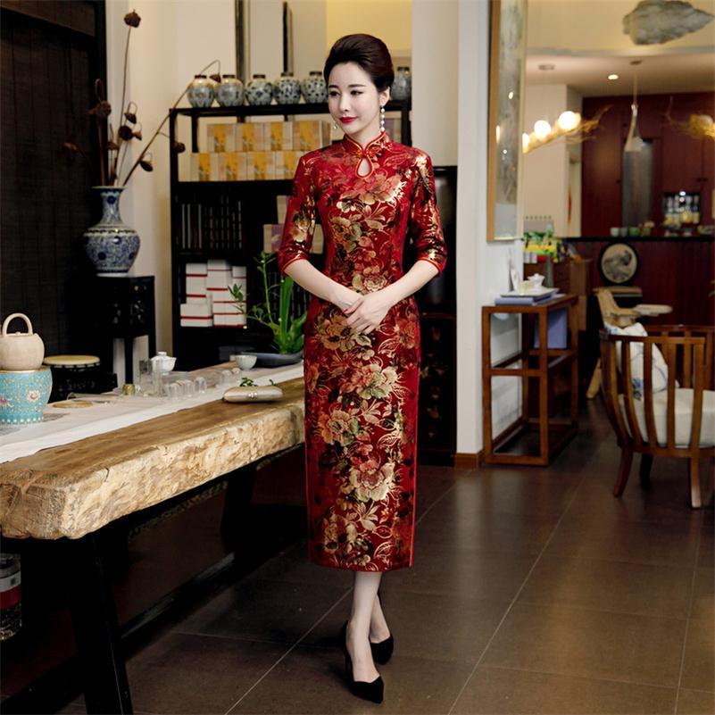Осеннее бархатное платье Чонсам женское китайское винтажное женское китайское стильное длинное платье Qipao элегантное тонкое платье Vestidos