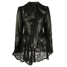 Jacket Coat Women Genuine-Leather Spring Slim New Zipper with Locomotive-Style Hem Lace