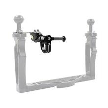 Upgraded Long Rod Adjustable Shutter Release Trigger Extension Level Mount for Diving Camera Underwater Tray Stabilizer Bracket