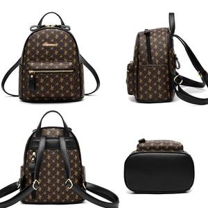 Image 2 - Luxury Famous Brand Design Women Backpack for Ladies Girls Vintage High Quality PU leather Back pack Bag Rucksack Bolsas Mochila