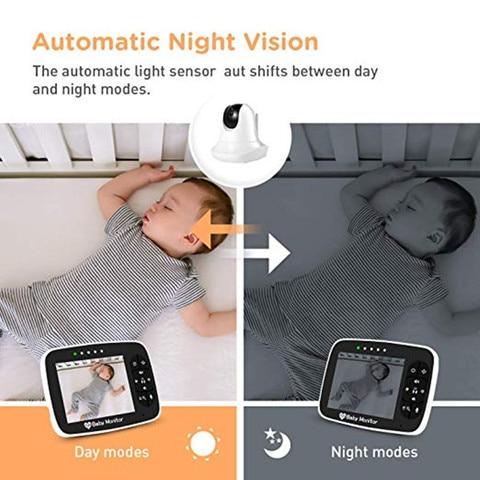 monitor de sono do bebe com camera remota pan tilt zoom