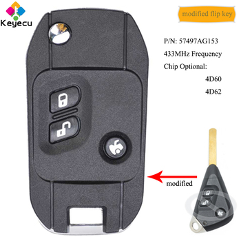 KEYECU Modified Flip Remote Control Car Key With 3B 433MHz 4D60/ 4D62 Chip - FOB for Subaru Liberty Impreza Forester Outback B13 image