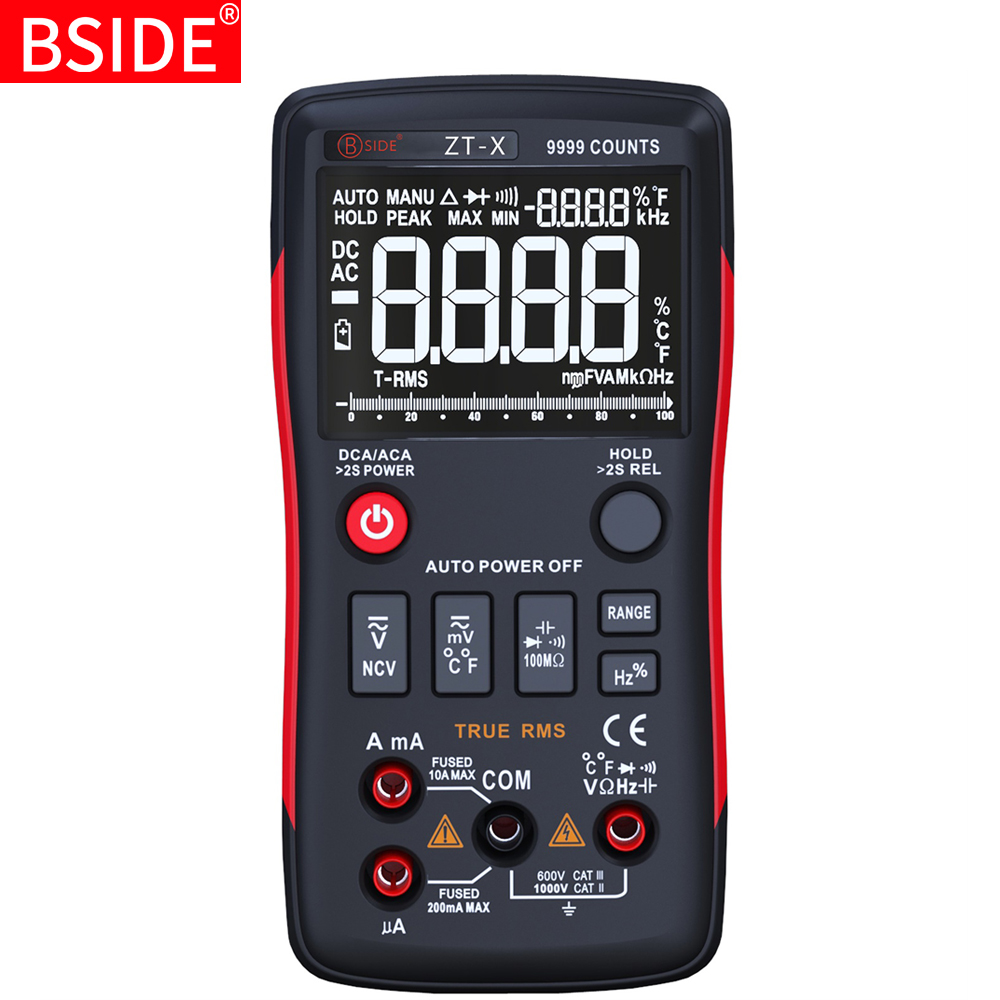 Multímetro digital bside ZT-X 9999 contagens 3-line triple display multimetro temperatura ohm tester medidor voltímetro amperímetro rm409b