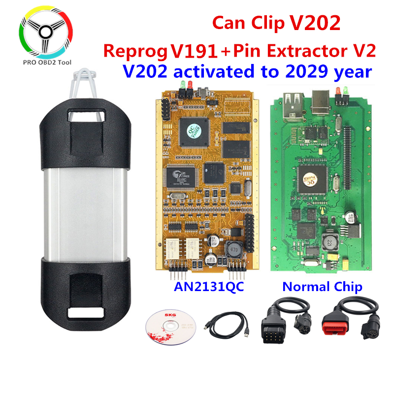Качественный полный чип для Renault can clip V202 Reprog V191 AN2135SC/AN2131QC, Золотая печатная плата Can Clip V202, автомобильный диагностический инструмент
