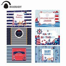 Allenjoy Ravy sfondo festa di compleanno tema mare neonato doccia strisce blu ancoraggio fotofono sfondo per Photocall