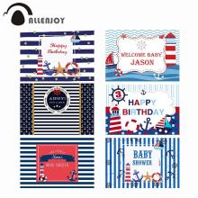 Allenjoy navy backdrop Birthday party sea theme newborn baby shower blue stripes Anchor Photophone Background for photocall