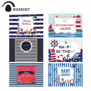 Image 1 - Allenjoy navy backdrop Birthday party sea theme newborn baby shower blue stripes Anchor Photophone Background for photocall