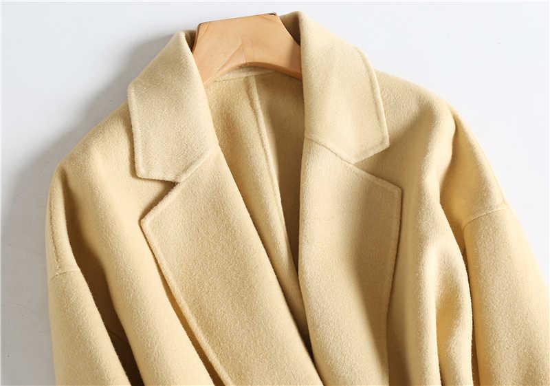 Primavera inverno elegante 100% casaco de lã feminino longo do vintage jaqueta de lã feminino coreano casual senhoras cinto mistura casacos lw2905
