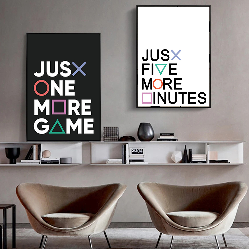 Playstation Buttons Canvas Painting Just One More Game Posters and Prints Wall Oil Pictures Gamepad Controller Boy Bedroom Decor