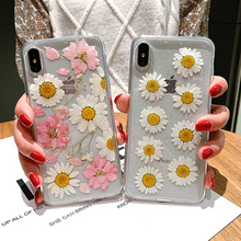 Pink White Real Dry Flower For iPhone X XS MAX XR 8 8 Plus 7 7 Plus 6 6S 6S Plus Case Bumper Ins Fashion Protective Coque Hot цена в Москве и Питере