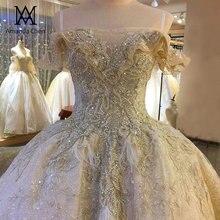ローブ · デ · マリアージュ 2020 オフショルダーレースアップリケラインストーンクリスタルウェディングドレス