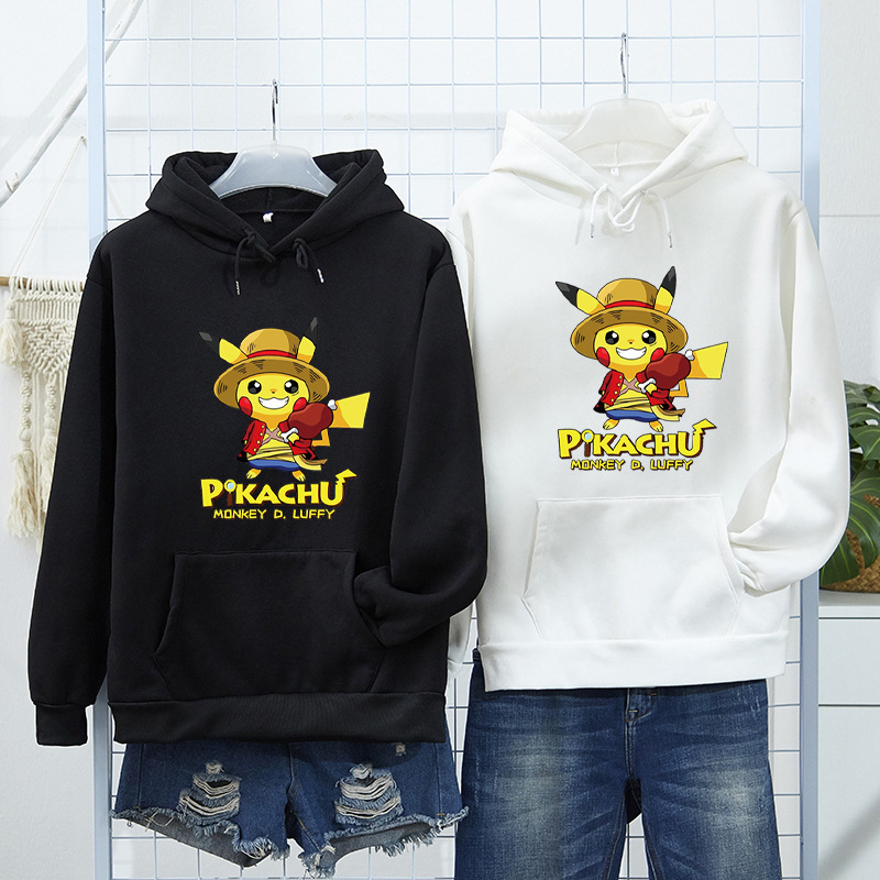 Pikachu Joint Hoodie Men's Dragon Ball Naruto One Piece Japanese-style Anime Clothes Hooded Couple Clothes Fashion
