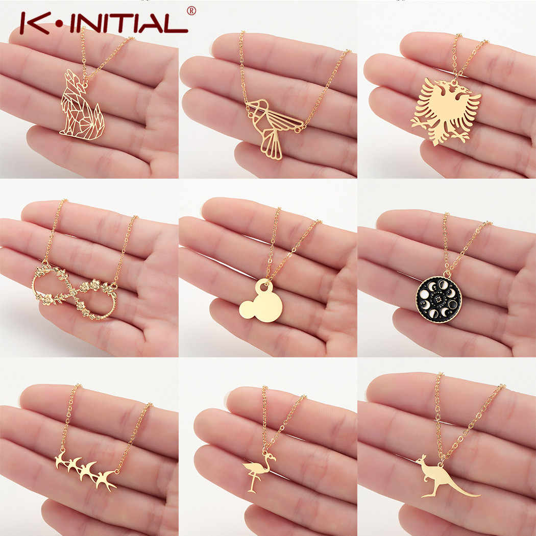 Kinitial Stainless Steel Wolf Flamigo Pendant Necklace Women Boho Jewelry Eagle Bird Whale Tail Chain Necklaces Collier Femme