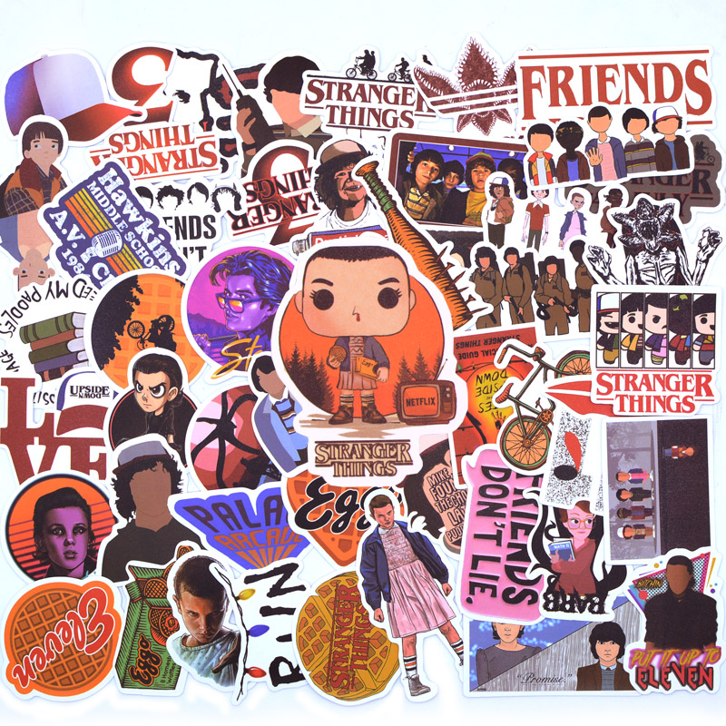50PCS Pack Stranger Things Stickers . For Kids On The Laptop Fridge Phone Skateboard Travel Suitcase Funny Cool Sticker