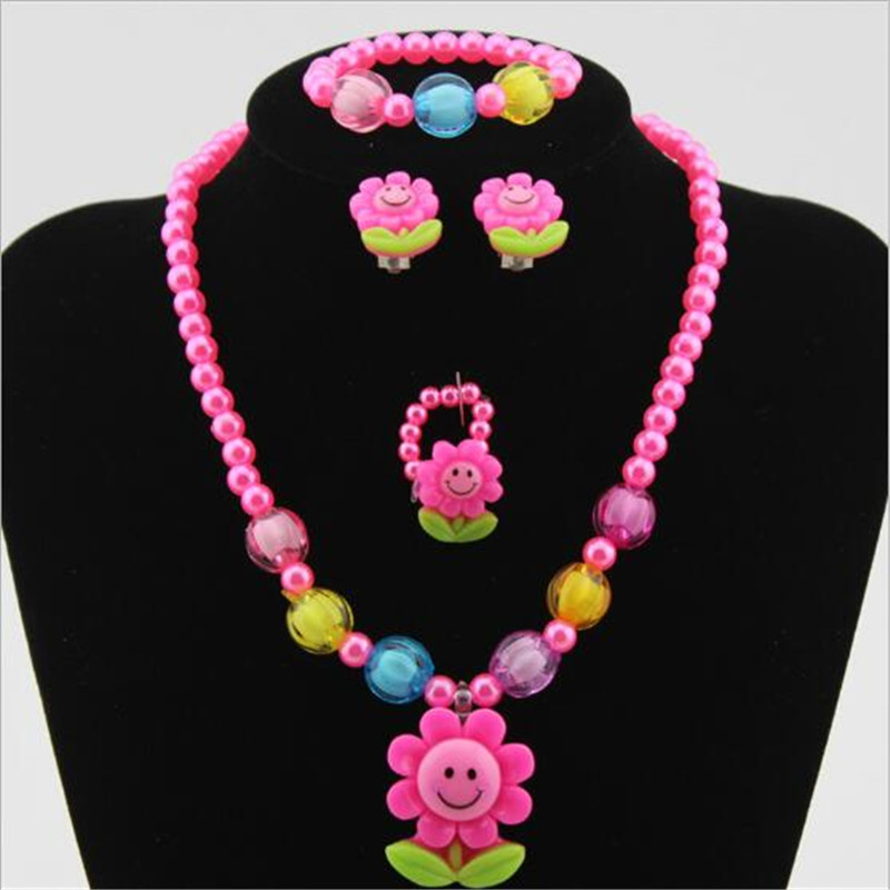 Fashion Resin Child Jewelry Set 2019 New Beads Girls Jewelry Kids Gift for Party Cute Necklace and Earring Children's Decoration