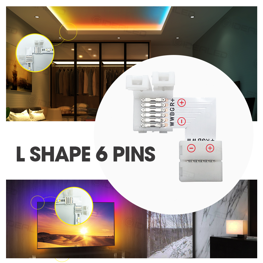 L Shape 6 pin 6pcs 12mm LED Connector set For connecting corner right angle 5050 SMD RGB RGBW 3528 2812 LED Strip