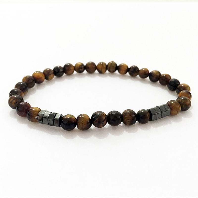 2019 New Fashion Geometric Beaded Men Bracelets Simple Classic Stone Bead Charm Bracelets Bangles For Men Jewelry Gift in Strand Bracelets from Jewelry Accessories
