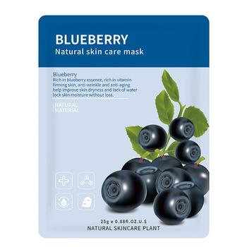 14 Style Plant Fruit Face Mask Pomegranate Aloe Vera Blueberry Cucumber Olive Honey Orange Rose Bamboo Tea Facial Skin Care - Blueberry