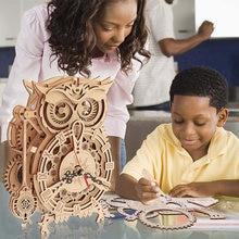 Diy 3d quebra-cabeça de madeira animal artesanato de madeira quebra-cabeças para adultos crianças modelo de jogos de construção kits de montagem brinquedo presente decoração