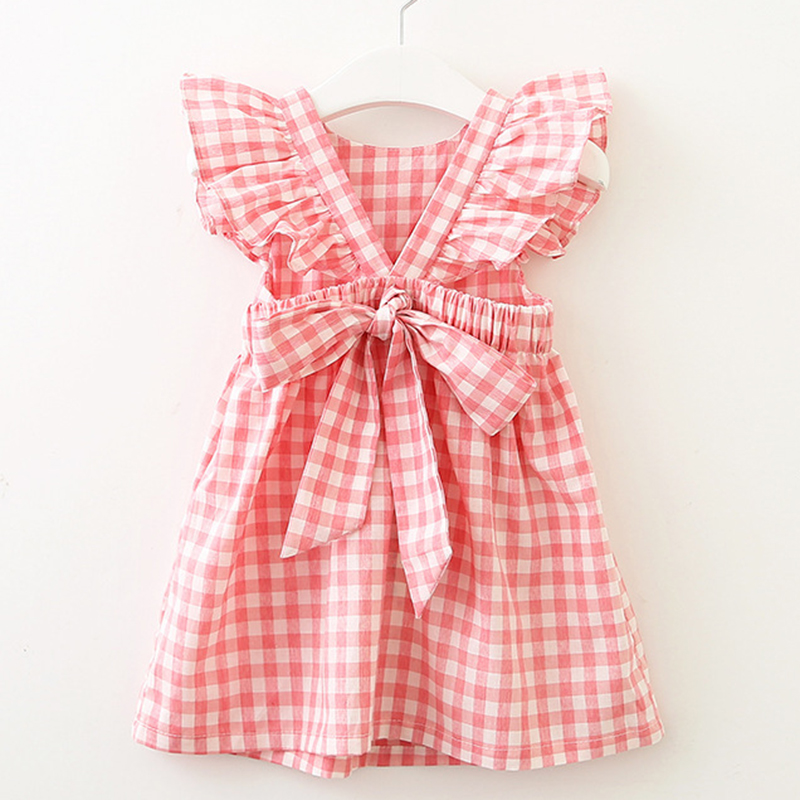 2021 New Summer Flying sleeve Plaid Baby Girl Clothes Ruffles Backless Children Dress Leisure Lovely Baby Dress Kids Clothing 3