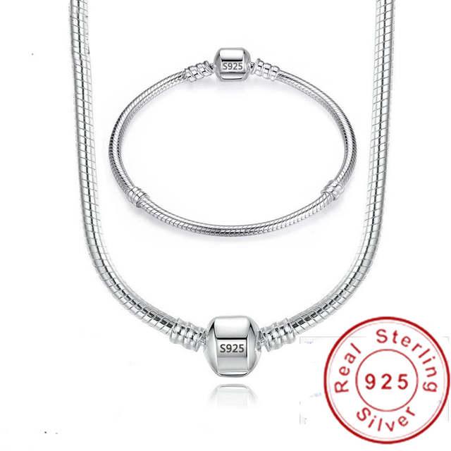 925 Sterling Silver Necklace Bracelet