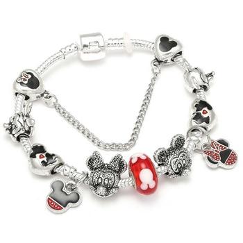 Cute Mickey Mouse Themed Bracelet Bracelets Jewelry New Arrivals Women Jewelry Metal Color: 5 Length: 18cm