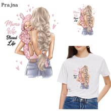 Prajna Russian Girls Thermal Stickers For Clothes DIY Patches Heat Transfer Lady Mom Baby Iron On