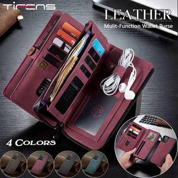 Luxury Zipper Wallet Leather SE 2020 Case For iPhone 12 Mini 11 Pro XS Max XR X 8 7 Plus Flip Magnet Cards Removable Phone Cover