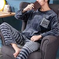 Pijama cálido de franela para hombre, ropa de dormir gruesa de invierno, de manga larga, informal, de lana, XXXL