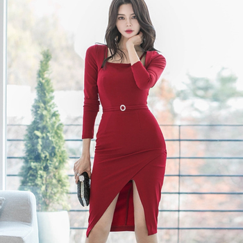 Red sexy midi dresses women long sleeves high waist bodycon dress fashion elegant style party club dress 2020 sexy plus size sequins summer dress women fashion off shoulder bodycon party dress elegant night club dresses midi vestidos new