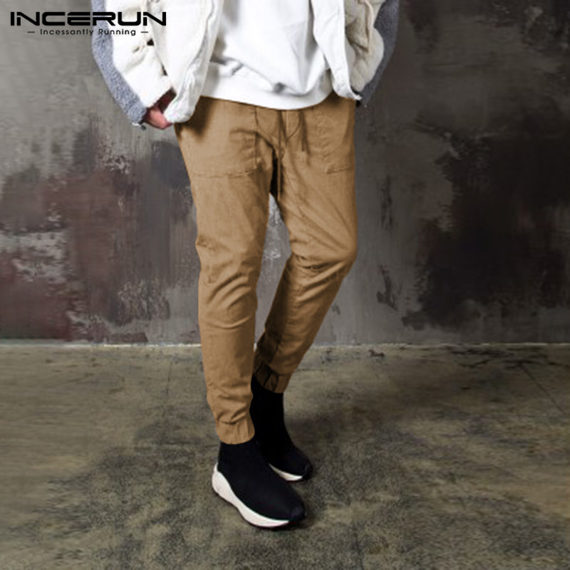 INCERUN 2020 Men Fashion Long Trousers Cargo Pants Men Elastic Waist Pockets Korean Plain Casual Streetwear Joggers Pants S-5XL