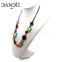 Dandie Fashion Long Necklace Triangle Round Shell And Pink Glass Bead Jewelry