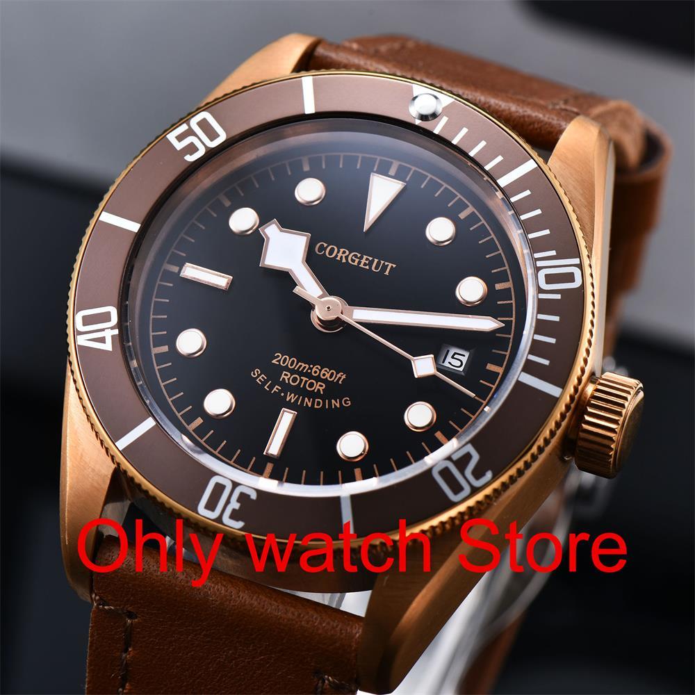 Corgeut Роскошные Брендовые мужские автоматические механические часы с сапфировым стеклом Miyota, военные спортивные часы для плавания, кожаные ... - 2