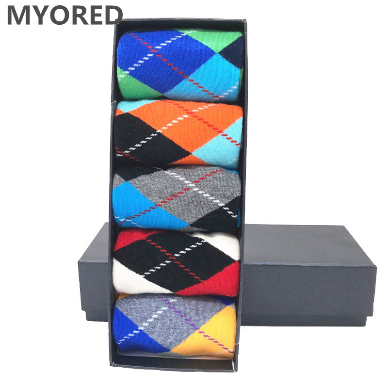 MYORED 5pairs/Lot Men's Cotton Socks ARGYLE Pattern For Man Casual Dress Classical Long Sock Man Couple Wedding Gift Sock NO BOX