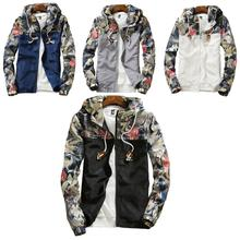 2019 Fashion Autumn Winter Men jacket coat thin section Flower Leaves Print Long