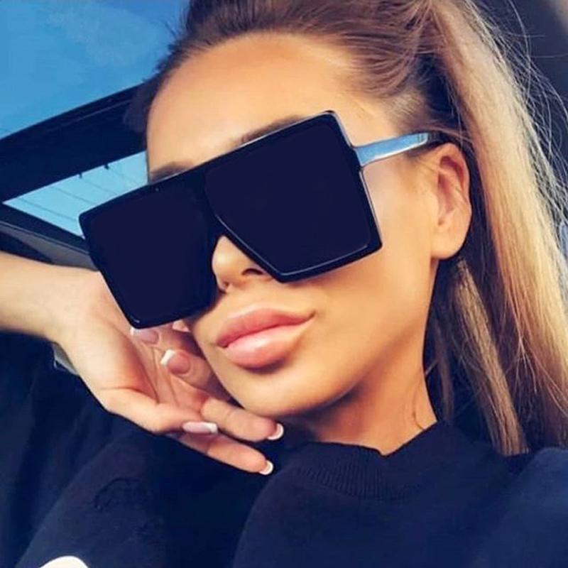 Oversized Shades Sunglasses Women Black Fashion Square Big Frame Sun Glasses Female Vintage Retro Glasses Unisex Oculos Feminino