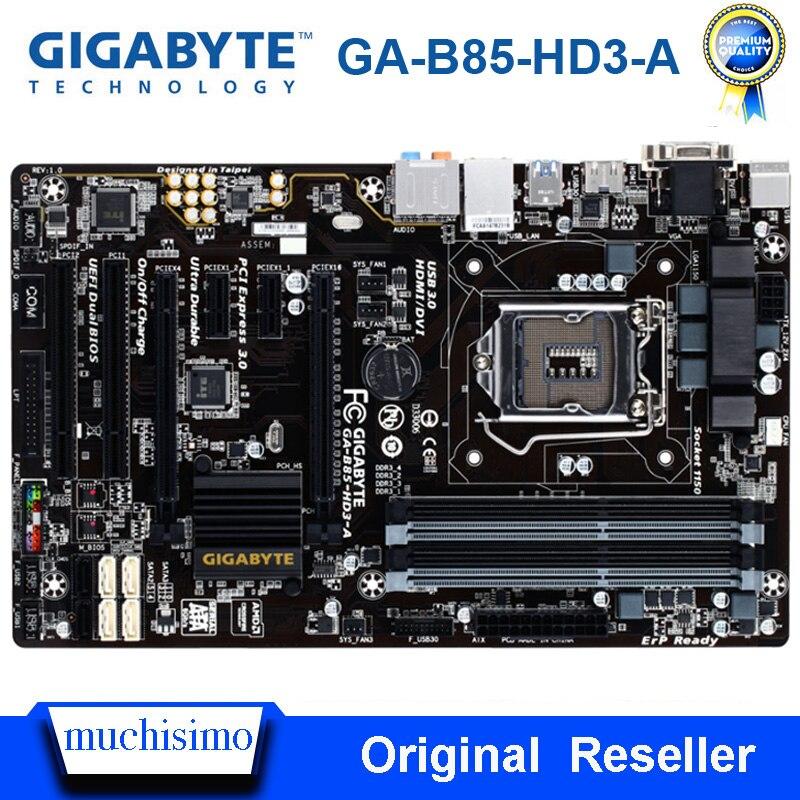 Intel B85 Socket LGA 1150 Gigabyte GA-B85-HD3-A Orginal Desktop Motherboard DDR3 Cpu I7 I5 I3 32GB SATA 3 1150 Used Mainboard